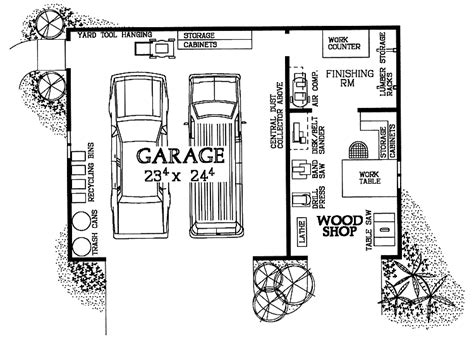 layout of car workshop woodshop garage combo hwbdo08032 house plan from
