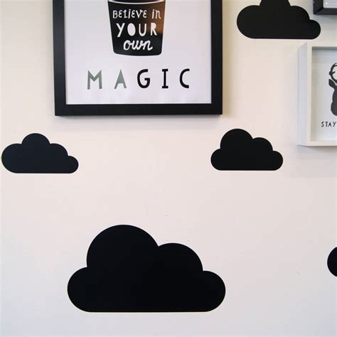 black wall stickers coloured cloud wall stickers by parkins interiors notonthehighstreet
