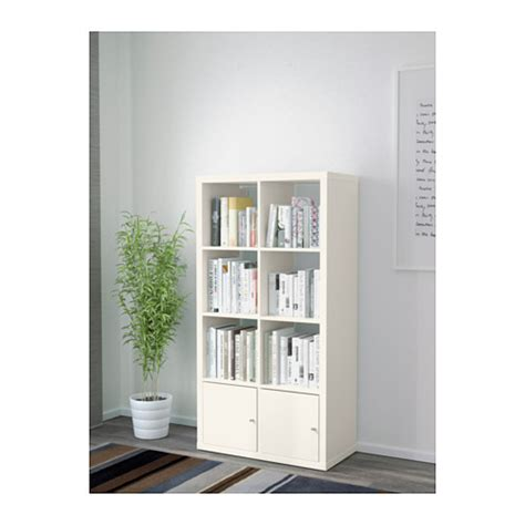 kallax shelving unit with doors white 77x147 cm ikea