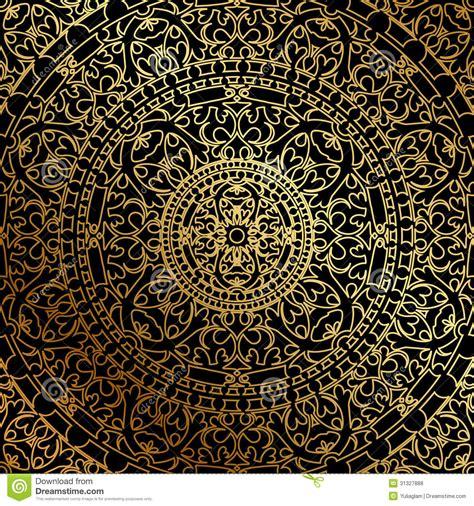 black and gold l fond noir avec l ornement d d or illustration de