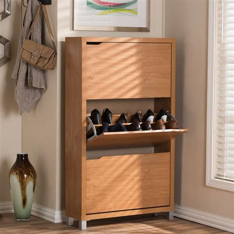 home depot shoe cabinet baxton studio simms wood modern shoe cabinet in maple