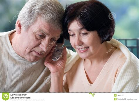 Phone For Couples Happy On Mobile Phone Stock Photo Image Of