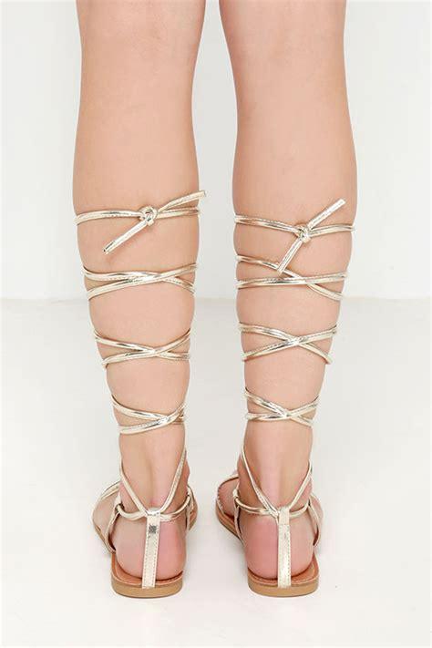 leg wrap sandals gold sandals leg wrap sandals flat sandals 17 00