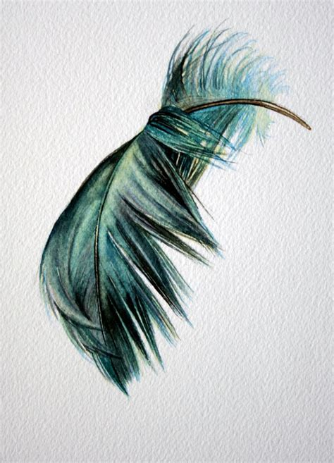 old watercolor tattoo blue green floating bent feather original watercolor