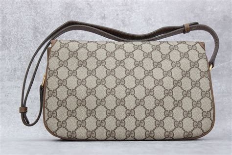 gucci brown gg monogram shoulder bag  flap  jills