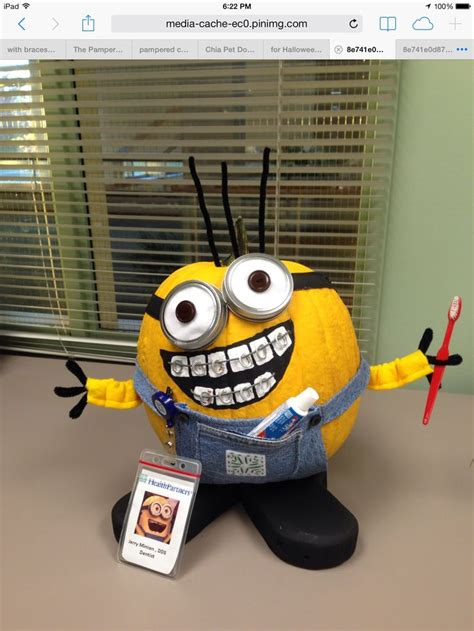 minion office minion pumpkin with braces in dental office