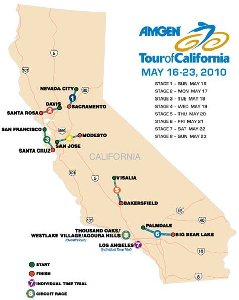 tour of california map tour of california 2010 the big preview cycling weekly