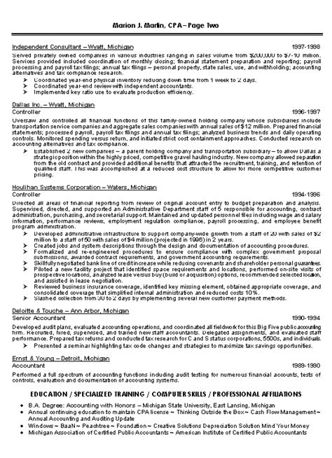 Cpa Sle Resume by Certified Accountant Resume 28 Images Sle Resume For Chartered Accountant Canada Templates
