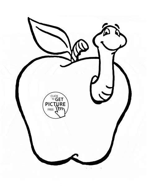 coloring pages of apples with worms apple with funny worm fruit coloring page for kids fruits