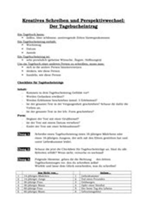 Tagebucheintrag Schreiben Muster 4teachers Lehrproben Unterrichtsentw 252 Rfe Und Unterrichtsmaterial F 252 R Lehrer Und Referendare