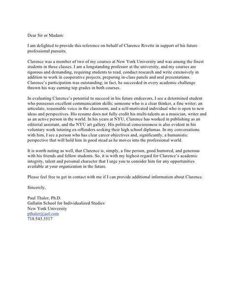Letter Of Recommendation On Behalf Of letter of recommendation paul thaler
