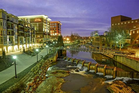 greenville sc riverplace in downtown greenville sc at twilight photograph by willie