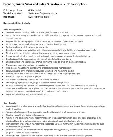 10 Sales Director Job Description Sles Sle Templates Sales Operations Description Template