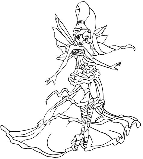 colour my sketchbook bloom winx club coloring pages bloom harmonix bw by