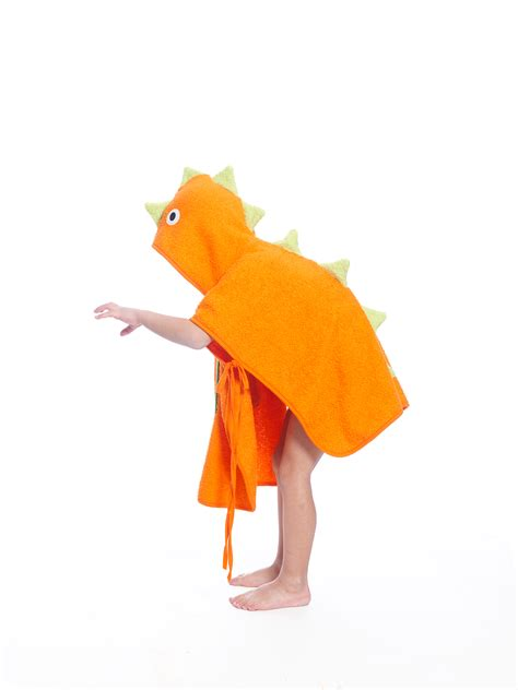 Orange Dino orange dinosaur poncho towel