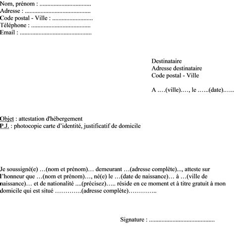Attestation La Letter Modele Lettre Attestation De Domicile Document