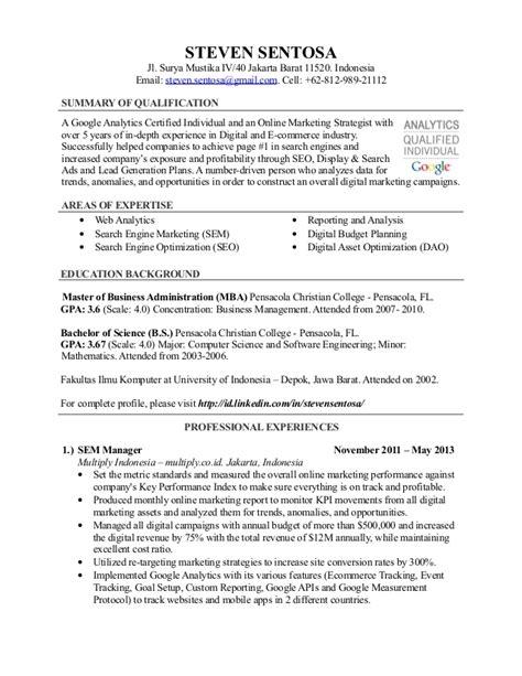 Seo Resume Sample by Steven Sentosa Resume Sem Manager