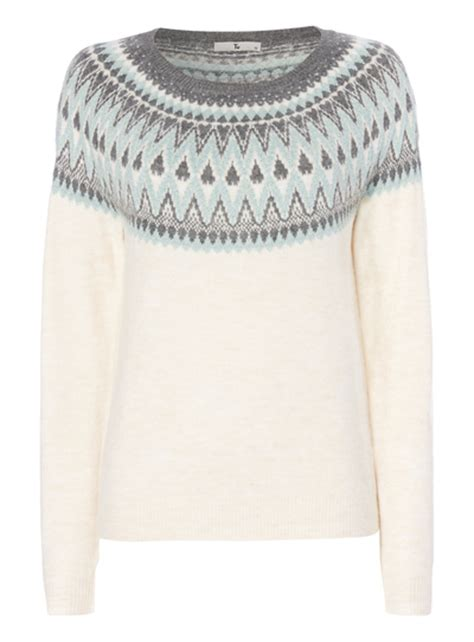 Womens Patterned Jumpers | womens cream patterned fairisle jumper tu clothing
