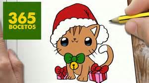 como dibujar un gato para navidad paso a paso dibujos