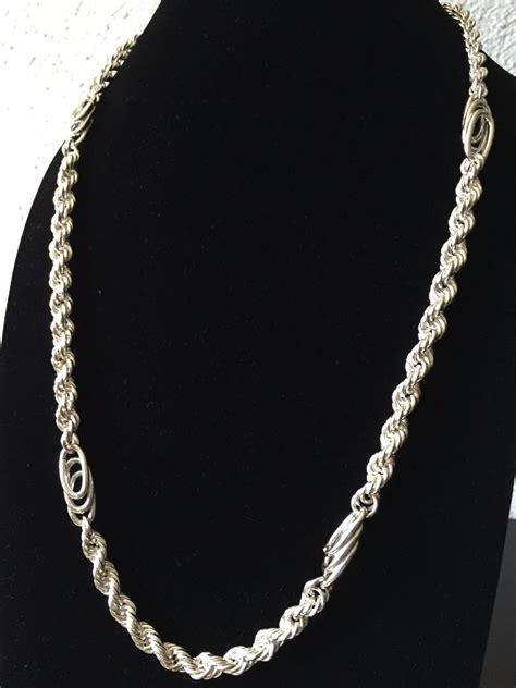 cadena de plata torzal para hombre cadena gruesa de plata ley 925 tipo torzal con clip