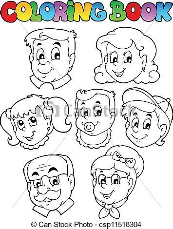 Vector Clipart of Coloring book family collection 3