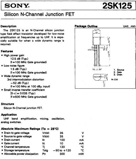 transistor fet pdf 2sk125 datasheet pdf sony semiconductor qdtasheet