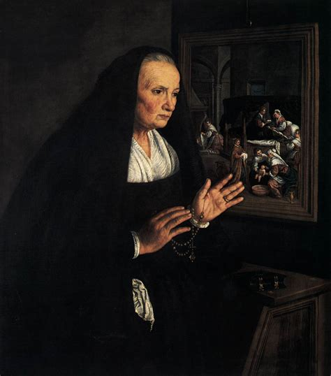 The Widow portrait of a widow at devotions by bassano leandro