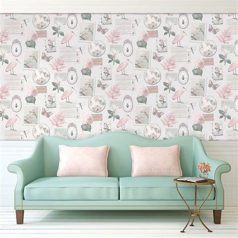 Wallpaper Sticker Shabby Chic 390 shabby chic floral wallpaper in various designs wall decor new free p p ebay