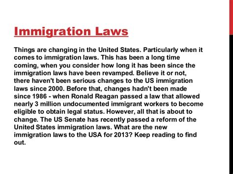 new immigration laws to usa 2013