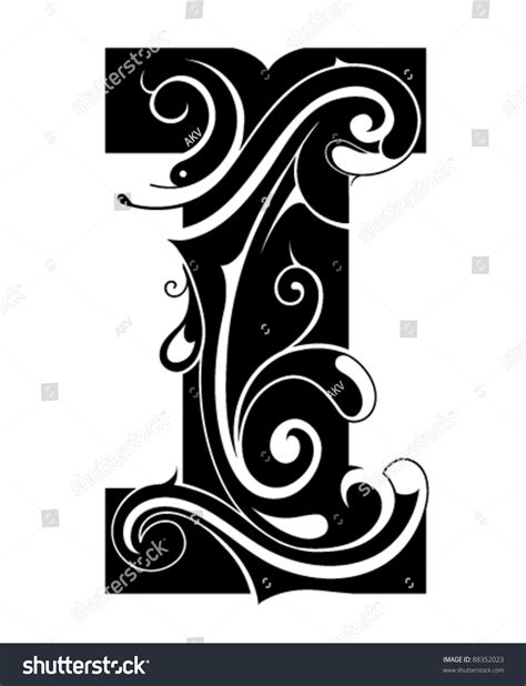 I Decorative by Decorative Letter Shape Font Type Stock Vector 88352023