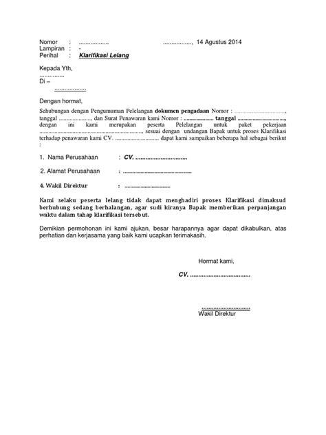 conton surat pengunduran diri lelang