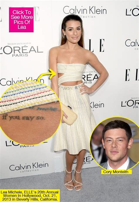 lea michele s tattoos lea michele wrote new song got of monteith s
