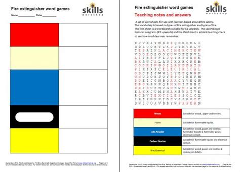 Health And Safety Worksheets For Students by Health And Safety Skills Workshop