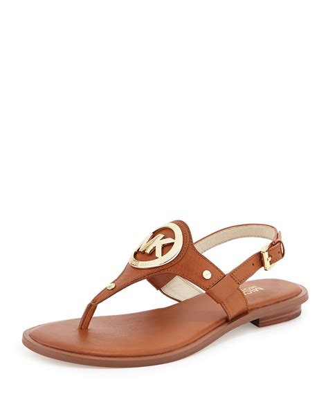 shoe sandals lyst michael michael kors molly leather slide in black
