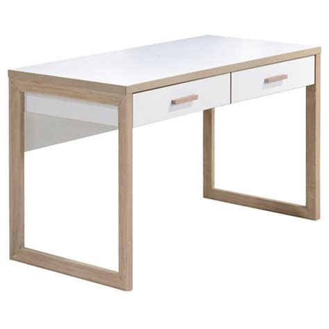 white and wood desk lifestyles studio living collection wood writing desk