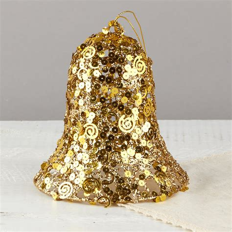 large gold christmas bells large gold sequined bell ornament table decor and winter crafts