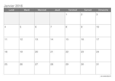 Calendrier De Calendrier Janvier 2016 224 Imprimer Icalendrier