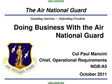 by order of the air national guard chief congmil ppt doing business with the air national guard