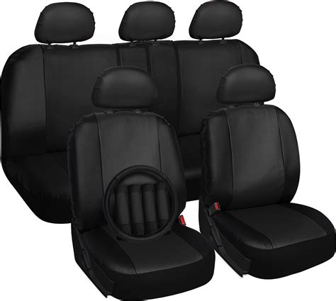front car seat covers solid black synthetic leather 17pc car front seat covers