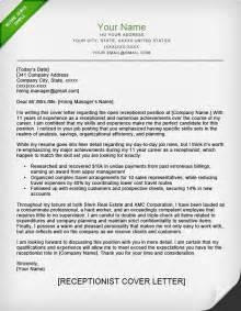 Hr Receptionist Cover Letter by Receptionist Cover Letter Sle Resume Genius