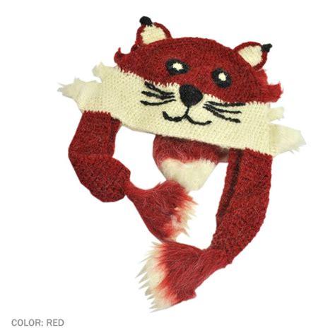 knit fox hat peruvian trading company fox crochet knit beanie hat novelty