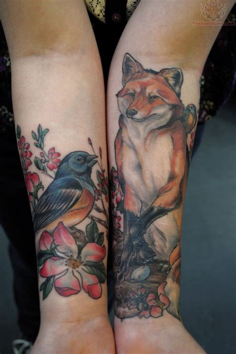 wild animal tattoo designs wildlife tattoos of fox and birds wildlife tattoos