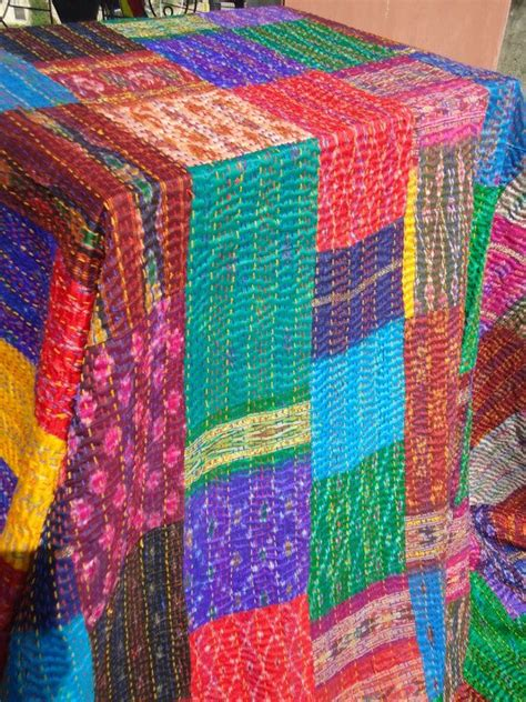 Indian Patchwork Quilt - patchwork sari indian kantha quilt nursery ideas