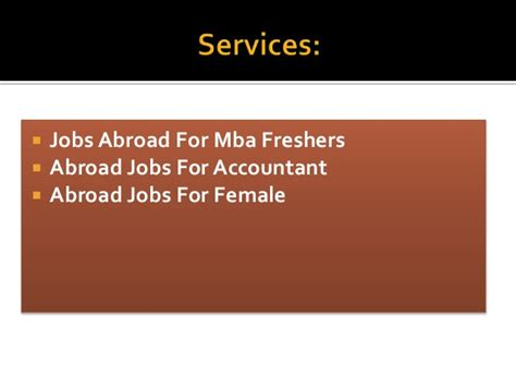 Vacancies For Mba Freshers by Abroad For Indian Freshers