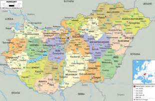 detailed political map of hungary ezilon map
