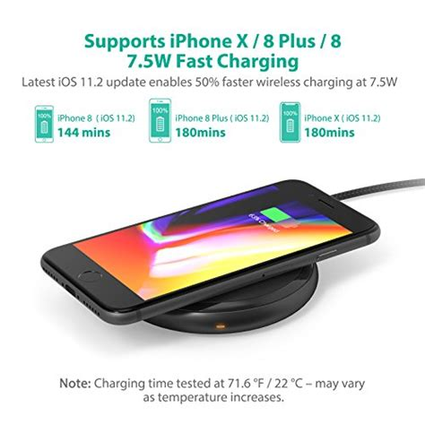 fast wireless charger ravpower 7 5w for iphone x 8 8 plus with hyperair technology 10w qi