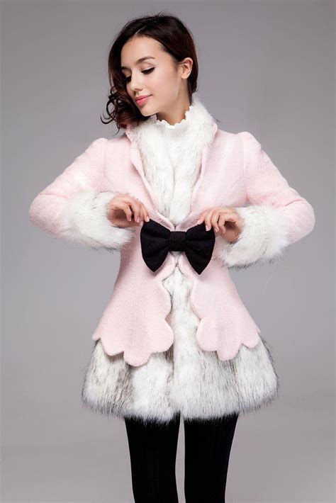 Bulu Korea Pink jaket bulu musim dingin pink 2style coat jln10058