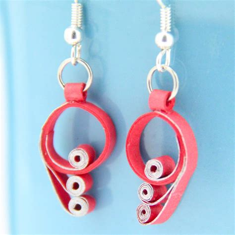 Paper Earring - and silver scroll paper quilling earrings