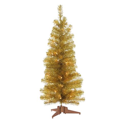 3 pre lit chagne gold pencil tree kmart