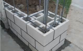 masonry block wall the timber post